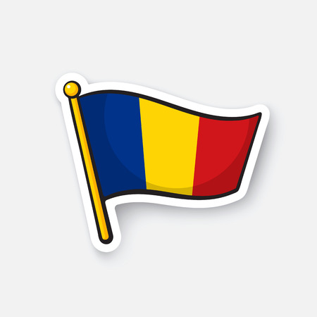 Flag of romania on flagstaff location symbol royalty free cliparts vectors and stock illustration image 72782849