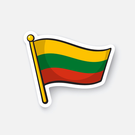 Vector illustration. Flag of Lithuania on flagstaff. Location symbol for travelers. Cartoon sticker with contour. Decoration for greeting cards, posters, patches, prints for clothes, emblems Illustration