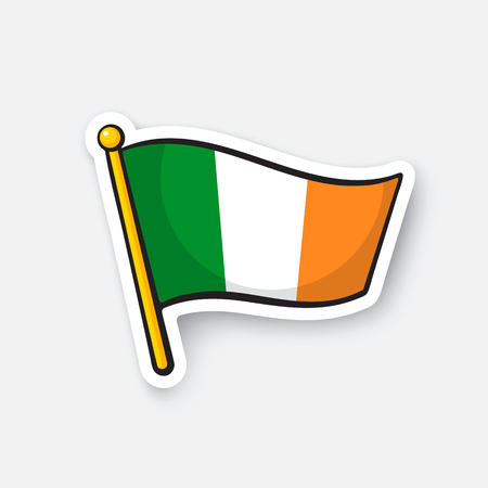 northwestern: Vector illustration. Flag of Ireland on flagstaff. Location symbol for travelers. Cartoon sticker with contour. Decoration for greeting cards, posters, patches, prints for clothes, emblems Illustration