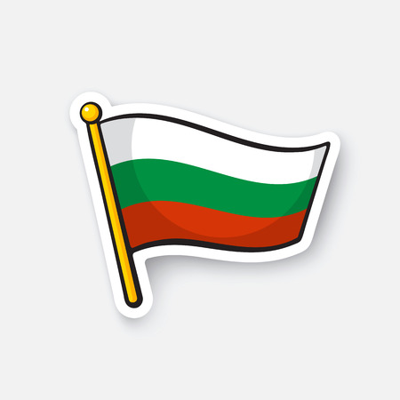 Vector illustration. Flag of Bulgaria on flagstaff. Location symbol for travelers. Cartoon sticker with contour. Decoration for greeting cards, posters, patches, prints for clothes, emblems