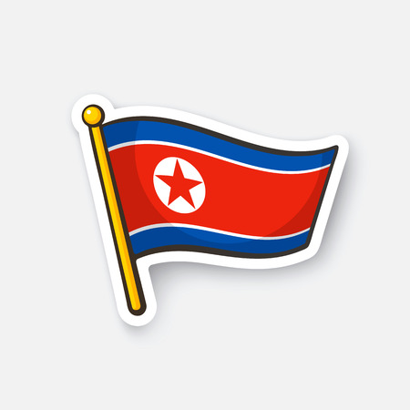 Vector illustration. Flag of North Korea on flagstaff. Checkpoint symbol for travelers. Cartoon sticker with contour. Decoration for greeting cards, posters, patches, prints for clothes, emblems