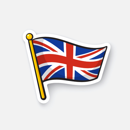 Vector illustration. Flag of the United Kingdom. Location symbol for travelers. Cartoon sticker with contour. Decoration for greeting cards, posters, patches, prints for clothes, emblems Illustration