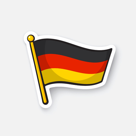 flagpole: Vector illustration. Flag of Germany on flagstaff. Location symbol for travelers. Cartoon sticker with contour. Decoration for greeting cards, posters, patches, prints for clothes, emblems