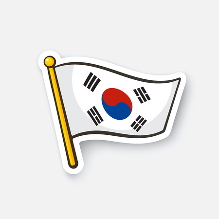 Vector illustration. Flag of South Korea on flagstaff. Checkpoint symbol for travelers. Cartoon sticker with contour. Decoration for greeting cards, posters, patches, prints for clothes, emblems