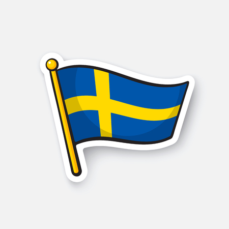 Vector illustration. Flag of Sweden on flagstaff. Location symbol for travelers. Cartoon sticker with contour. Decoration for greeting cards, posters, patches, prints for clothes, emblems