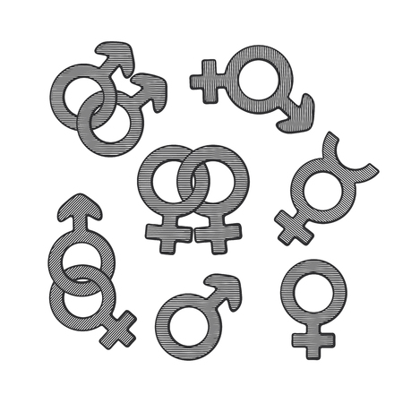 preference: Vector illustration. Hand drawn sketch of gender symbols with scribble. Gender pictograms. Retro vintage element for greeting cards, posters, prints for clothes, banners, signboard, showcases Illustration