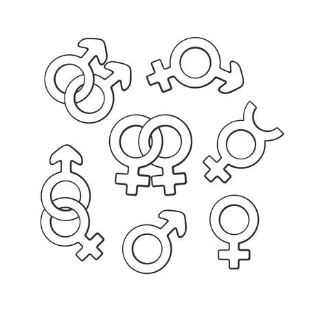 Vector Illustration Hand Drawn Doodle Set Of Gender Symbols