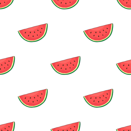 gift paper: Vector illustration. Seamless pattern with watermelon slice. Healthy vegetarian food. Decoration for gift paper, prints for clothes, textiles, wallpapers