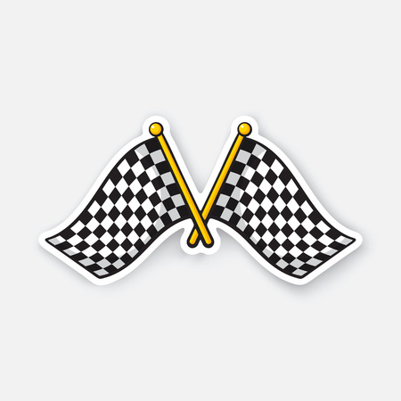 Vector illustration. Two crossed chequered racing flags on flagstaffs. Cartoon sticker with contour. Decoration for greeting cards, patches, prints for clothes, badges, posters, emblems Illustration