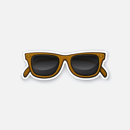rimmed: Vector illustration. Retro sunglasses horn-rimmed glasses. Sticker in cartoon style with contour. Decoration for greeting cards, patches, prints for clothes, badges, posters, emblems