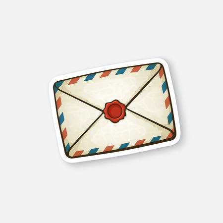 unopened: Vector illustration. Closed vintage mail envelope with wax seal. Not read incoming message. Sticker in cartoon style with contour. Decoration for greeting cards, patches, prints for clothes, badges, posters, emblems Illustration