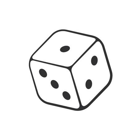 Vector illustration. Hand drawn doodle of one casino dice. Cartoon sketch. Illustration
