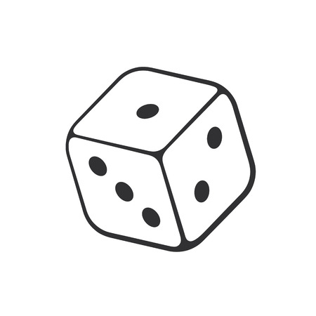 Vector illustration. Hand drawn doodle of one casino dice. Cartoon sketch. Ilustração
