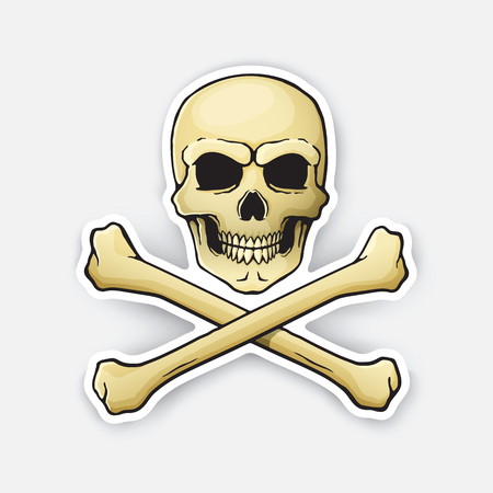Vector illustration. Skull Jolly Roger with crossbones at the bottom. Sticker in cartoon style with contour. Illustration
