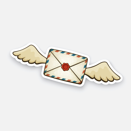 Vector illustration. Flying closed vintage mail envelope with wax seal. Not read incoming message. Sticker in cartoon style with contour. Decoration for greeting cards, patches, prints for clothes, badges