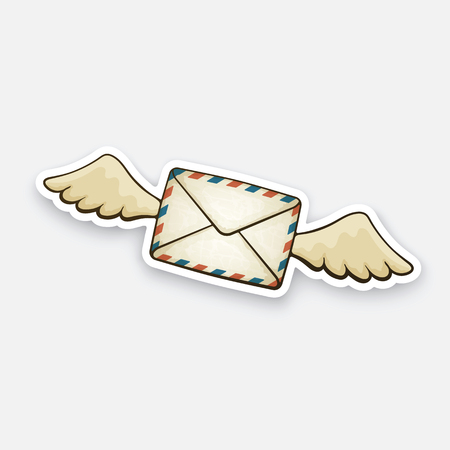 Vector illustration. Flying closed vintage mail envelope with wings. Not read incoming message. Sticker in cartoon style with contour. Decoration for greeting cards, patches, prints for clothes, badges