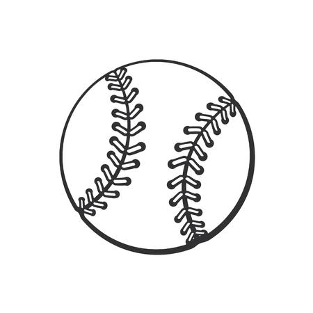 ベクトルの図。野球ボールの手描き落書き。スポーツ用品。漫画のスケッチ。グリーティング カード、ポスター、エンブレムのための装飾の壁紙し