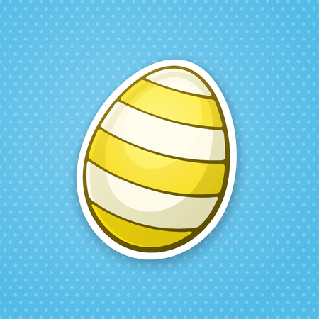 paschal: Vector illustration. Yellow Easter egg with stripped pattern. Sticker in cartoon style with contour. Decoration for greeting cards, patches, prints for clothes, badges, posters, emblems