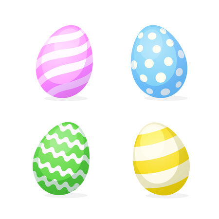 paschal: Colorful Vector illustration. Set of Easter eggs in flat style. Decoration for greeting cards, prints for clothes, posters