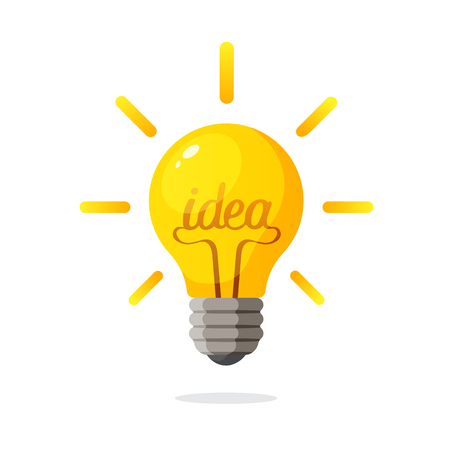 Vector illustration. Light bulb with the word of idea and rays shine. Decoration for greeting cards, prints for clothes, posters Illustration