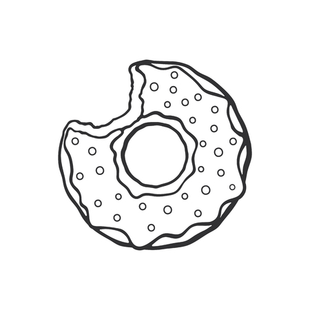 bun: Vector illustration. Hand drawn doodle of bitten donut with glaze and powder. Cartoon sketch.