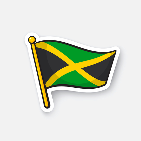 Vector illustration. National flag of Jamaica. Location symbol for travellers. Illustration