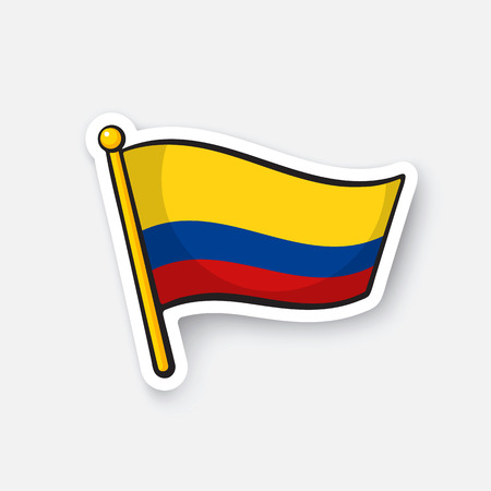Vector illustration. National flag of Colombia. Location symbol for travellers.