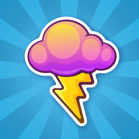 patch of light: Sticker electric lightning bolt with cloud