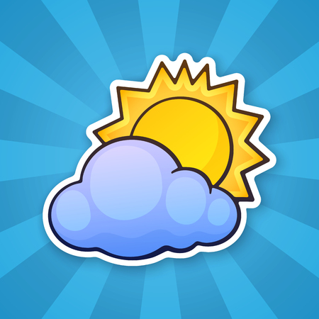 Vector illustration. Sun disappeared behind a cloud. Weather symbol. Sticker in cartoon style with contour. Decoration for greeting cards, patches, prints for clothes, badges, posters, emblems. Ilustração