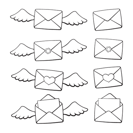 Vector illustration. Set of hand drawn doodles of opened and closed envelopes, with wings, heart and wax seal. Cartoon sketch. Decoration for greeting cards, posters, emblems, wallpapers