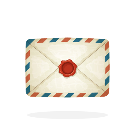 Vector illustration in cartoon style. Closed vintage mail envelope from old paper with red wax seal. Not read incoming message. Decoration for greeting cards, prints for clothes, posters