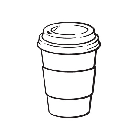 Vector illustration. Hand drawn doodle of disposable paper cup with coffee or tea. Cartoon sketch. Decoration for menus, signboards, showcases, greeting cards, posters, wallpapers  イラスト・ベクター素材