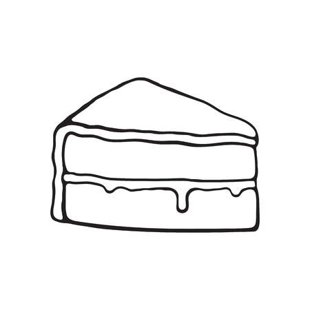 Vector illustration. Hand drawn doodle of a piece of cake with glaze cream fondant and confiture. Cartoon sketch. Decoration for menus, signboards, showcases, greeting cards, wallpapers