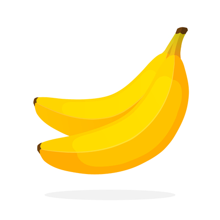 Vector illustration in flat style. Two bananas. Healthy vegetarian food. Decoration for greeting cards, prints for clothes, posters, menus