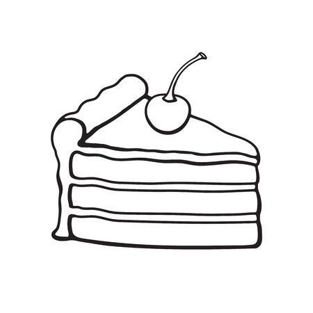 Ilustración Del Vector. Un Trozo De Pastel Con Crema De Chocolate Y ...