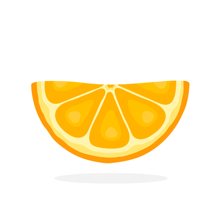 funny pictures: Vector illustration in flat style. Half orange slices. Healthy vegetarian food. Citrus fruits. Decoration for greeting cards, prints for clothes, posters, menus Illustration