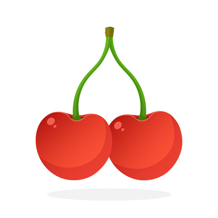funny pictures: Vector illustration in flat style. Two red sweet cherry berries connected by a stem. Healthy vegetarian food. Decoration for greeting cards, prints for clothes, posters, menus