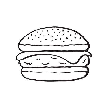 funny pictures: Vector illustration. Hand drawn doodle of cheeseburger. Cartoon sketch. Unhealthy food. Decoration for menus, signboards, showcases, greeting cards, posters, wallpapers Illustration