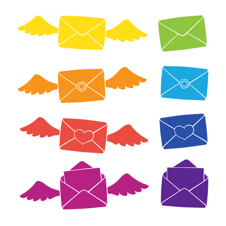 Vector illustration. Set of silhouettes of open and closed envelopes, with wings, heart and wax seal. Communication symbols. Patterns elements for greeting cards, wallpapers