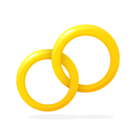 Vector illustration in flat style. Two gold wedding ring. Decoration for greeting cards, prints for clothes, infographics