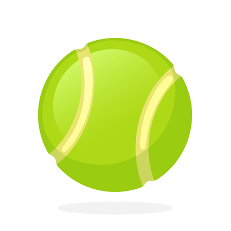 Vector illustration in flat style. Tennis ball. Sports equipment. Decoration for greeting cards, prints for clothes, posters, wallpapers Ilustração
