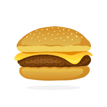 Vector illustration in cartoon style. Cheeseburger with meat and cheese. Unhealthy food. Decoration for patches, prints for clothes, badges, posters, emblems, menus Illustration