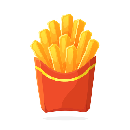 Vector illustration in cartoon style. French fries in a paper red pack. Unhealthy food. Decoration for patches, prints for clothes, badges, posters, emblems, menus 向量圖像