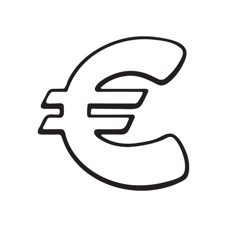 Vector Illustration Hand Drawn Doodle Of Euro Sign With Stars
