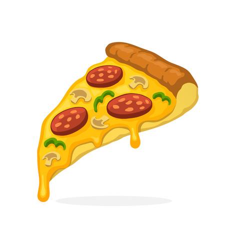 ベクトル イラスト漫画のスタイルで。溶けたチーズ ピーマンとキノコのピザのスライス。不健康な食べ物。パッチについては、装飾の服、バッジ、  イラスト・ベクター素材
