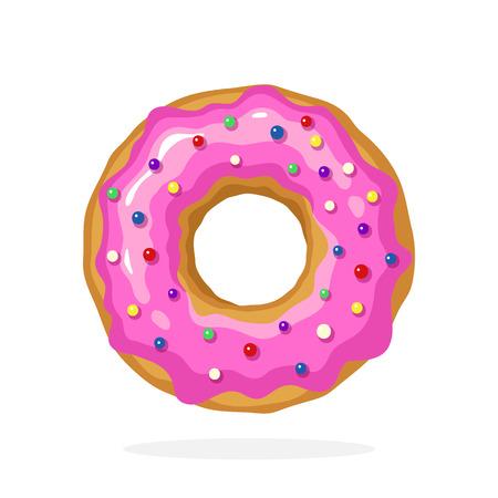 ベクトル イラスト漫画のスタイルで。ピンクの釉薬と着色した砂糖糖衣錠ドーナツ。洋服、ポスター、壁紙、メニュー、看板、ショーケース、装飾