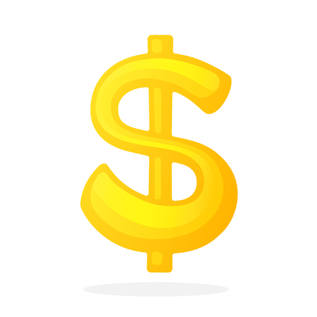 Vector illustration in flat style. Golden sign of dollar with one vertical line. The symbol of world currencies. Decoration for menus, signboards, showcases, posters, wallpapers and interfaces