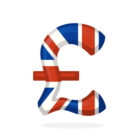 Vector illustration. Sign of pound in national flag colors. Symbol of world currencies. Decoration for menus, signboards, showcases, posters, wallpapers and interfaces Illustration