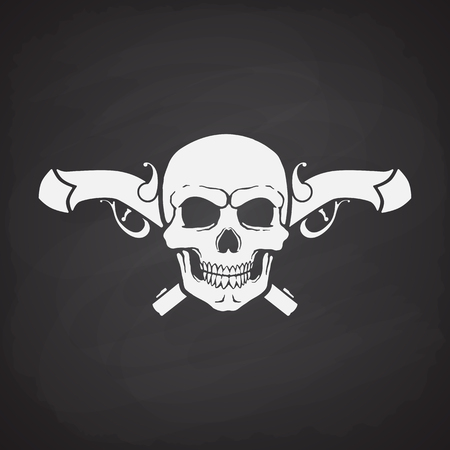 skull and crossed bones: Silhouette of skull Jolly Roger with crossed pistols at the behind on a blackboard