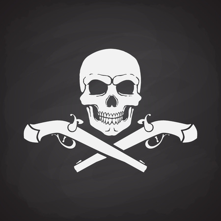 skull and crossed bones: Silhouette of skull Jolly Roger with crossed pistols at the bottom on a blackboard